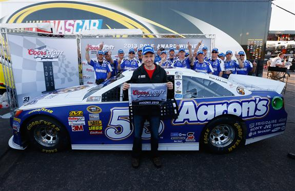 Jared Wickerham/Getty Images Mark Martin, driver of the #55 Aaron's Dream Machine Toyota, poses after winning the pole during qualifying for the NASCAR Sprint Cup Series Subway Fresh Fit 500 at Phoenix International Raceway on March 1, 2013 in Avondale, Arizona.